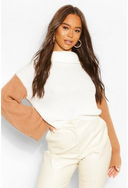 Tan brown Colour Block Contrast Flare Sleeve Sweater