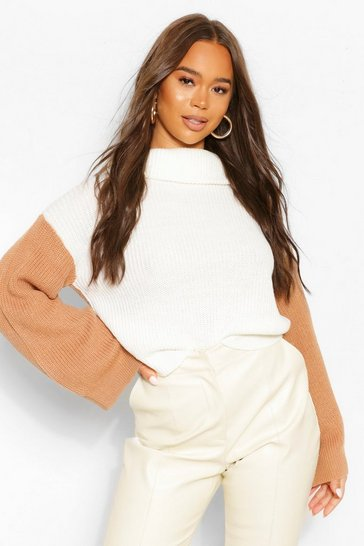 Tan brown Colour Block Contrast Flare Sleeve Jumper