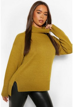 Olive green Roll Neck Tunic Length Chunky Jumper