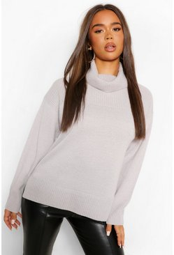 Silver grey grey Roll Neck Tunic Length Chunky Jumper
