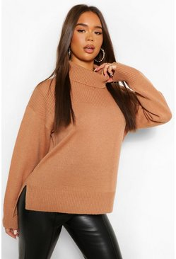 Tan brown Roll Neck Tunic Length Chunky Jumper