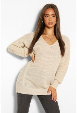 Oatmeal beige Cable Knit Oversized Jumper