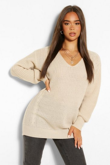 Oatmeal Cable Knit Oversized Jumper