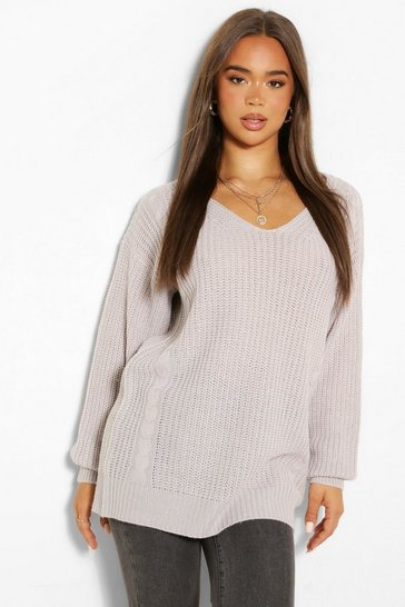 Silver grey grey Grey Cable Knit Oversized Jumper