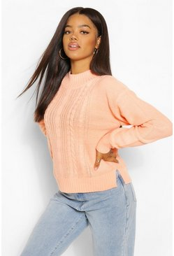 Apricot nude Cable Knit High Neck Jumper