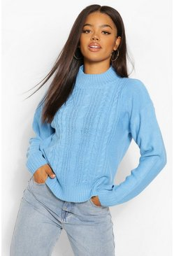 Bright blue blue Cable Knit High Neck Jumper