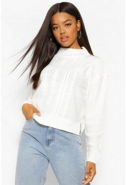 Ivory white Cable Knit High Neck Jumper