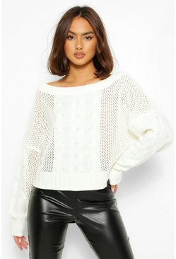Ivory white Loose Cable Knit Sweater