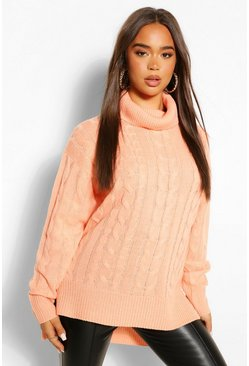 Apricot nude Step Hem Cable Knit Jumper