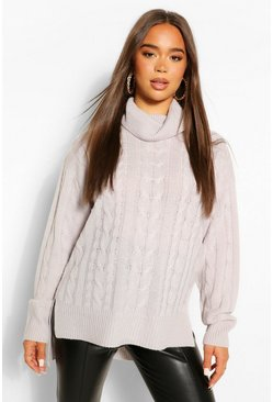 Silver grey grey Step Hem Cable Knit Jumper