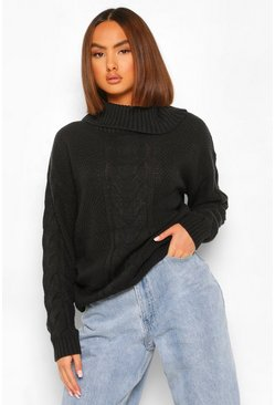 Black Cable Knit Roll Neck Jumper