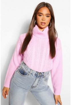 Bright lilac purple Cable Knit Roll Neck Jumper