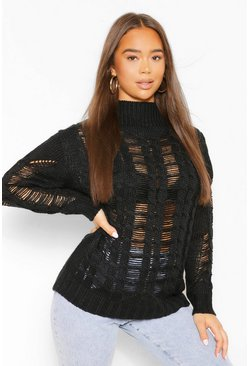 Black Open Knit High Neck Jumper