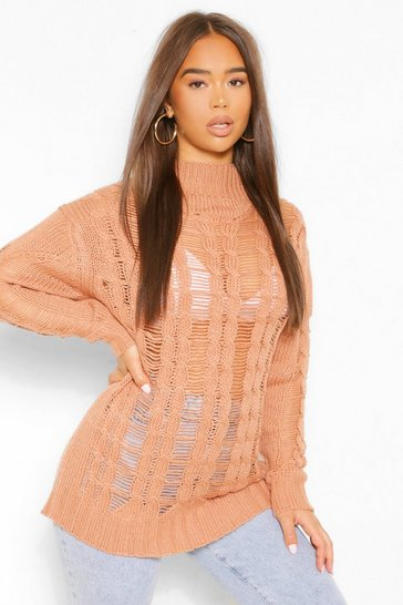 Tan brown Open Knit High Neck Jumper