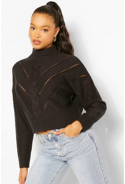 Black High Neck Knit Detail Jumper