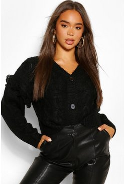 Black Chunky Cable Knit Cropped Cardigan