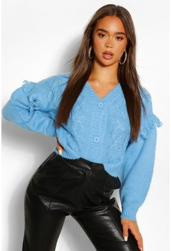 Bright blue blue Chunky Cable Knit Cropped Cardigan