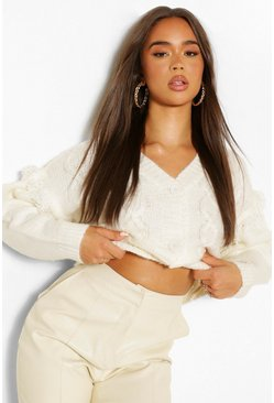 Ivory white Chunky Cable Knit Cropped Cardigan