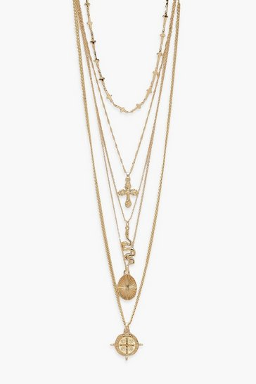 Gold 5 Pack Layered Necklaces
