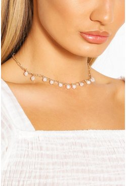 Gold metallic Pearl Detail Chain Choker Necklace