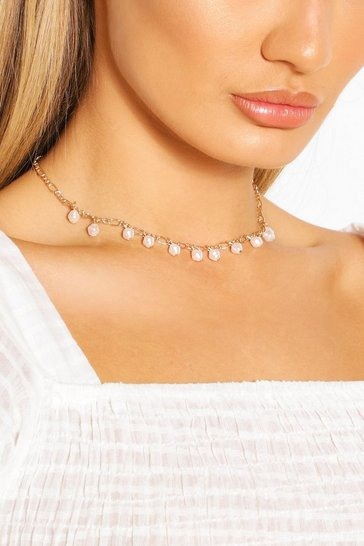 Gold Pearl Detail Chain Choker Necklace