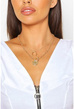 Gold T Bar Coin & Horn Layered Necklace