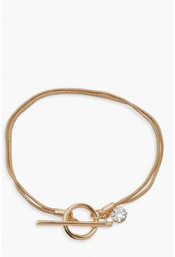 Gold metallic Diamante & T Bar Bracelet