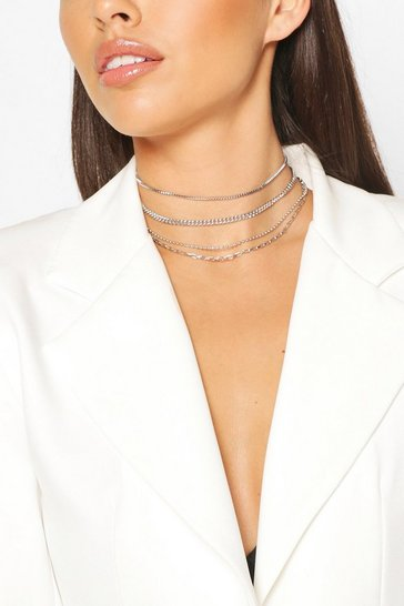 Silver Chain Detail Stacking Choker 4 Pack