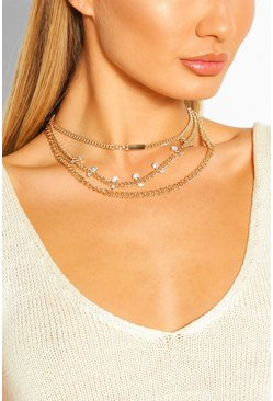 Gold metallic Chain & Diamante Layered Statement Necklace