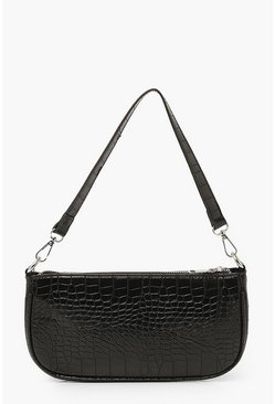 Black Croc Baguette Shoulder Bag