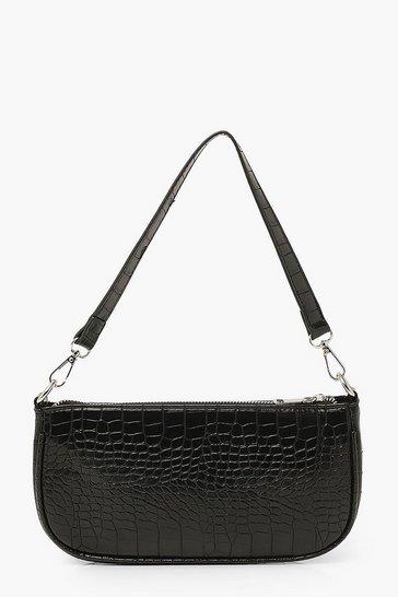 Black Croc Baguette Shoulder Bag