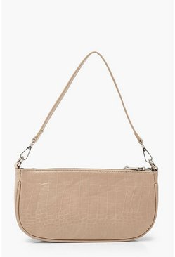 Pink Croc Baguette Shoulder Bag