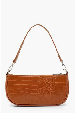 Tan brown Croc Baguette Shoulder Bag