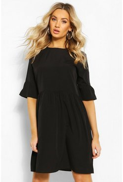 Black Frill Sleeve Skater Dress
