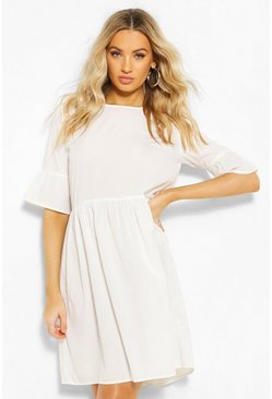Frill Sleeve Skater Dress, White Белый