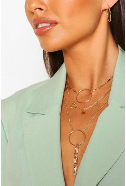 Gold metallic Star And Ring Layered Plunge Necklace
