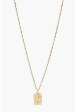 Gold metallic Rectangle Coin Necklace