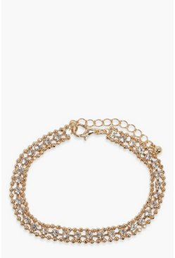 Gold metallic Dainty Diamante Bracelet