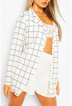 White Grid Check Duster Jacket