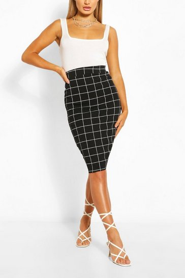 Black Grid Check Pencil Skirt
