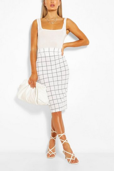 White Grid Check Pencil Skirt