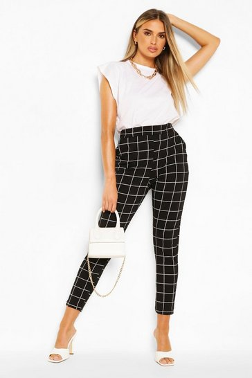 Black Grid Check Skinny Trouser