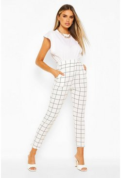 White Grid Check Skinny Trouser