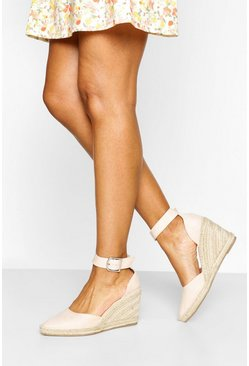 Nude Pointed Toe Two Part Espadrille Wedges