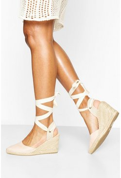 Nude Pointed Toe Wrap Espadrilles Wedges
