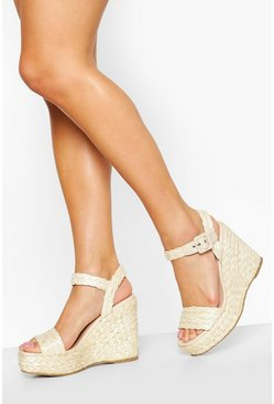 Espadrille 2 Part Wedges, Natural Бежевый