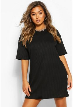 Black Jumbo Rib Oversized T-shirt Dress