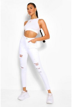 White High Rise Super Distressed Stretch Skinny Jean