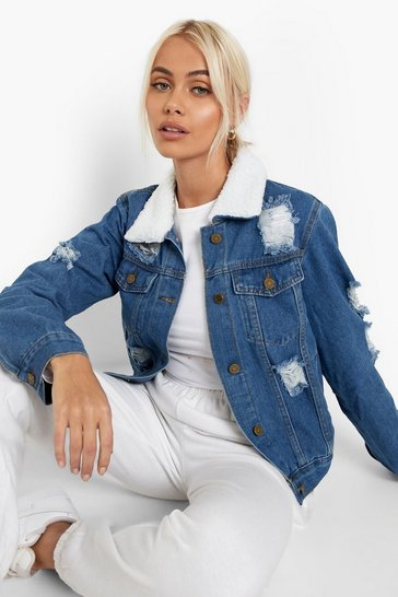 Mid blue blue Distressed Borg Collar Denim Jacket