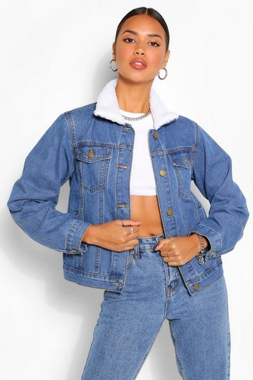 Mid blue blue Borg Collar Denim Jacket